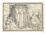 Builders at Work on Tower of Babel Giclee Print by Hans Holbein the Younger