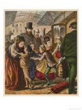 Children Arriving at a Terminus and are Met by Their Relatives Giclee Print by H.w. Petherick