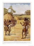 """Swaziland Witch-Doctor Goes Round the Village """"Smelling"""" for the Sorcerer Giclee Print by Norman H. Hardy"""