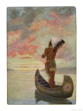 Hiawatha's Departure: Hiawatha Sails Westward into the Sunset Impression giclée par M. L. Kirk
