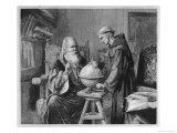 Galileo Galilei Demonstrates His Astronomical Theories to a Monk Premium Giclee Print by Felix Parra