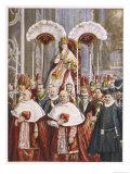 Pope Leo XIII (Gioacchino Vincenzo Raffaelle Luigi Pecci) Borne in Procession in St. Peter's Rome Giclee Print by E. Nardi