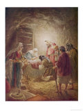 The Shepherds Come to See Mary Joseph and Their Baby Jesus Giclee Print by William Hole