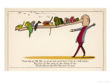 There was an Old Man on Whose Nose Most Birds of the Air Could Repose Premium Giclee Print by Edward Lear