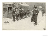 Puritan Governor Interrupts Christmas Sporting Activities Amongst Early American Settlers Giclee Print by Howard Pyle