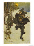 At Salem Dr. Wilkinson is Pursued by a Sinister Wolf Giclee Print by Howard Pyle