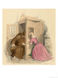 Foolish is the Sheep Who Makes Her Confession to the Wolf Giclee Print by J.J. Grandville