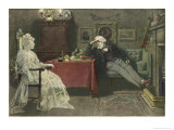 An Old Man is Visited by the Ghost of His Dead Wife Giclee Print by Charles Green