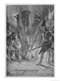 In Ancient Gaul Sacrificial Victims are Crowded into a Wicker Cage Which is Then Set Alight Premium Giclee Print by Stephen Reid