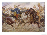 French Cavalry Retreat from a German Attack Giclée-Druck von Angelo Jank
