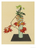 Maple and White Chrysanthemum an Autumn Arrangement Giclee Print by Koun Ohara
