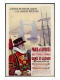 By Rail and Sea from Paris to Brighton or London Featuring a Beefeater and Tower Bridge 1 of 8 Giclee Print by René Péan