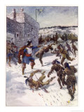 Montreal Maisonneuve Defends Ville Marie (Montreal) Against the Iroquois Giclee Print by Henry Sandham
