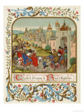 Isabella Queen of Edward II Flees to France and is Received by Charles le Bel Giclee Print by Ronjat