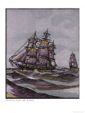 California Clipper Ships Giclee Print by Jacques 
