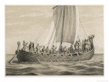 Vikingesnekke, Norwegian Warriors in a Half-Decked Warship Giclee Print by Anker Lund