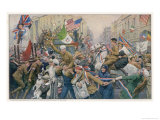 Jubilant Peace Celebrations in Piccadilly Circus London after the End of World War One Giclee Print by Franz Lesshaft