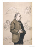 Jean-Martin Charcot French Neurologist with Some of His Patients Depicted in the Background Premium Giclee Print by Paul Renouard