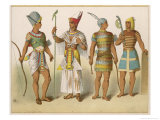 Various Egyptian Costumes: Kings in War and Ceremonial Costume Giclee Print by Albert Kretschmer