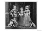 Charles I Charles James Mary and Their Dogs Giclee Print by Harry Payne