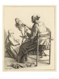 Dutch Woman at Her Spinning Wheel with Hanks of Thread at Her Feet Giclee Print by Geertruydt Roghman