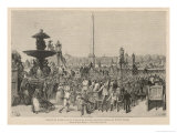 Victor Hugo Place de la Concorde Paris on the Day of the French Novelist's Funeral Giclee Print by Henri Meyer