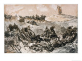 German Artillery Struggle Through the Mud While Under Enemy Fire Giclee Print by Felix Schwormstadt