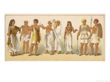 Various Egyptian Costumes: Left to Right, Six Priests and Two Warriors Giclee Print by Albert Kretschmer