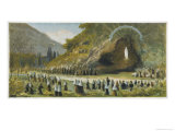 Bernadette Accompanied by a Sizeable Crowd Asks the Apparition Giclee Print by Hoffbauer