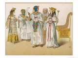 Various Egyptian Costume: Left to Right, Princess Prince King Priest and Queen Giclee Print by Albert Kretschmer