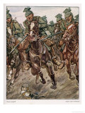 An Uhlan Cavalry Charge Giclee Print by Angelo Jank
