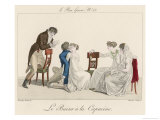 Le Baiser a la Capucine, a French Kissing Game Giclee Print by Schenker