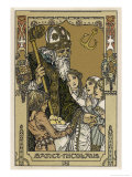Saint Nicolas with Children, The Original Santa Claus Giclee Print by Heinrich Lefler