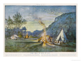Members of a Camping Club Having Pitched Their Tents Cook by Their Camp Fire Giclee Print by Donald Maxwell