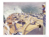 French Transatlantic Liner, The Promenade Decks Giclee Print by Albert Sebille