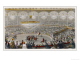 Circus Performers Riding Horses in the Ring at Franconi's Circus Paris in Front of a Huge Audience Lámina giclée por J. Mottram