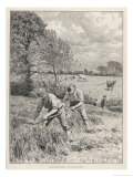 Mowing Clover Two Men with Scythes Reproduction procédé giclée par Gunning King