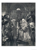 Edward Presents His Infant Son Edward II to the Welsh Reproduction proc&#233;d&#233; gicl&#233;e par M. Klinkich