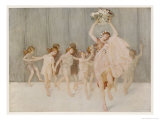 Isadora Duncan American Dancer Seen Here with Some of Her Pupils Stampa giclée premium di A.f. Gorguet