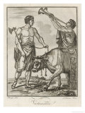 Bull Seemingly Aware of Its Imminent Fate is Led by Roman Priests to the Sacrifice Giclee Print by  Saint-sauveur