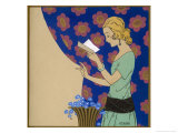 She Reads a Letter Above a Vase of Blue Flowers Giclee Print by Armand Rapeno