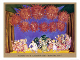 Midnight Sun Set Design Showing Dancers on Stage and Large Sun-Faces Over-Head Giclee Print by M. Larionow