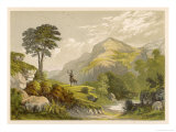 Scottish Highland Moor Scene with a Stag Set Against Majestic Hills Giclee Print by F. Lydon