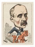 "Georges Clemenceau French Statesman Depicted Riding His ""Principles"" Giclee Print by  Moloch"