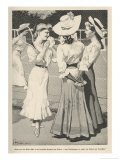 German Girls Talking Beside a Tennis Court Giclee Print by Ernst Heilemann