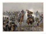 Battle of Leipzig the Brandenburg Hussars at Mockern Giclée-Druck von R. Knotel