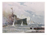 The Russian Cruiser Novik is Sunk by the Japanese Cruiser Tschitole Giclee Print by C. Schon