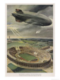 The Hindenburg Flies Over the Opening Ceremony Giclee Print by Hans Lidke