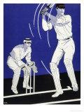 Batsman Plays a Stroke in Front of the Wicketkeeper Giclee-trykk av Stanley R. Miller