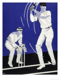 Batsman Plays a Stroke in Front of the Wicketkeeper Giclee Print by Stanley R. Miller